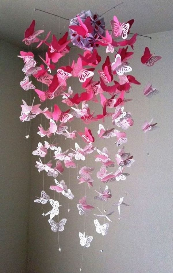 Как сделать бабочки на стену из бумаги
