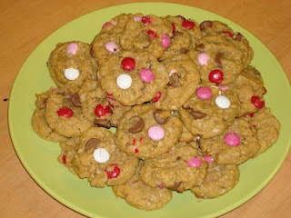 ... Chocolate Chip M&M Peanut Butter Cookies!! Enjoy with a tall glass of