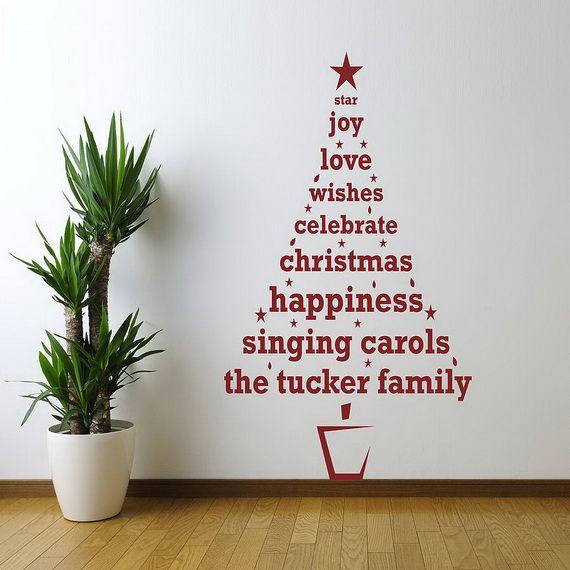 ウォールステッカーでクリスマスツリー壁デコ