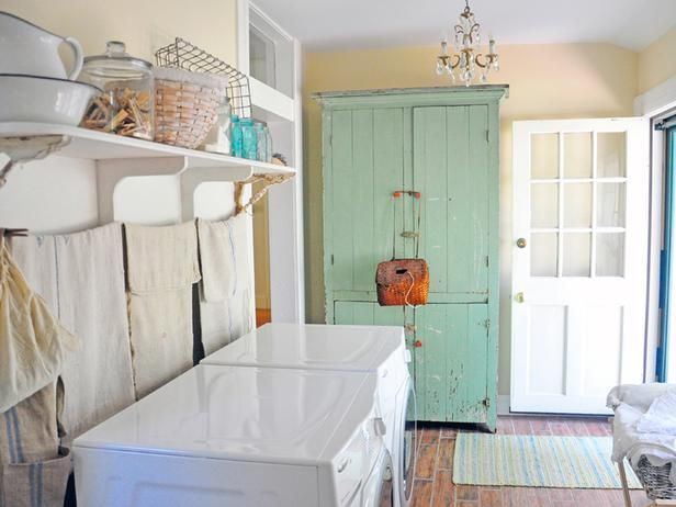 Not everything in your laundry room has to be shiny and new to make the space beautiful. In fact, having an antique wardrobe like this one is a great way to tell a story and still have storage. This farmhouse laundry room, designed by Carol Spinski, has a lovely mix of elements that makes for an interesting space.