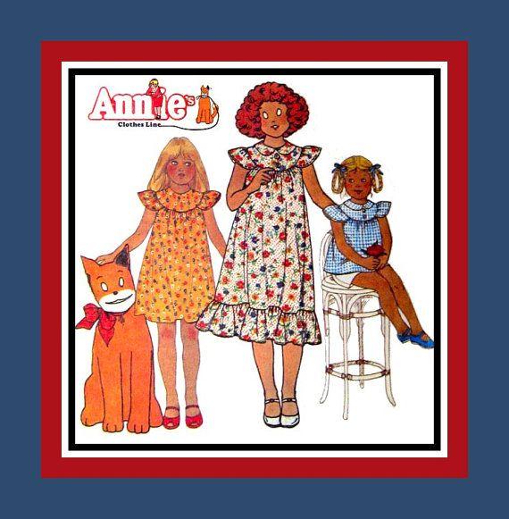 Vintage 1978 little orphan annie girls sewing pattern art deco sty