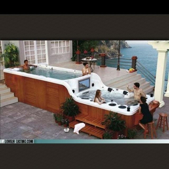 Big hot tub dream home pinterest for Home hot tubs