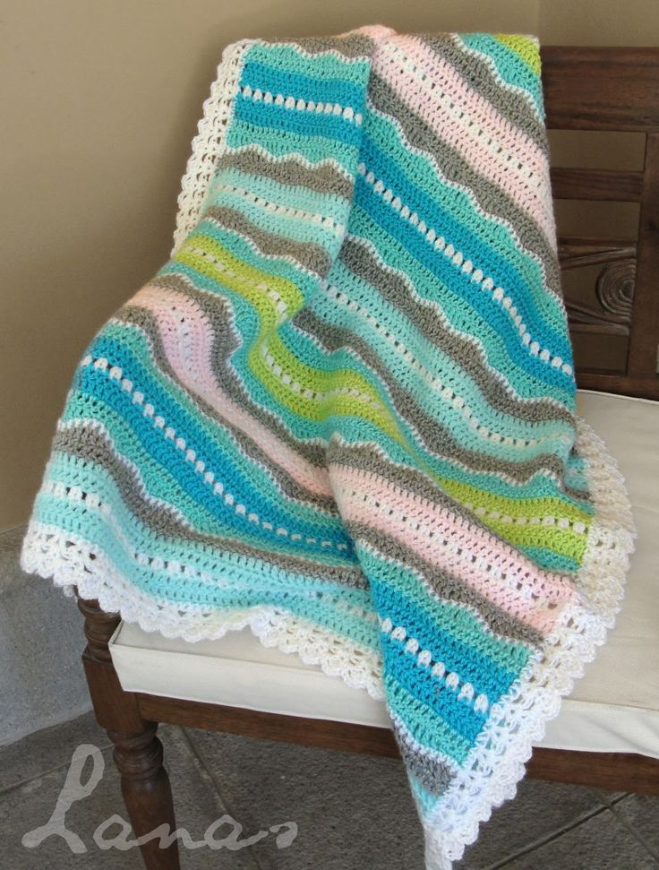 Baby Blanket: Sweet Ocean Breeze ~ scroll down for link to pattern site