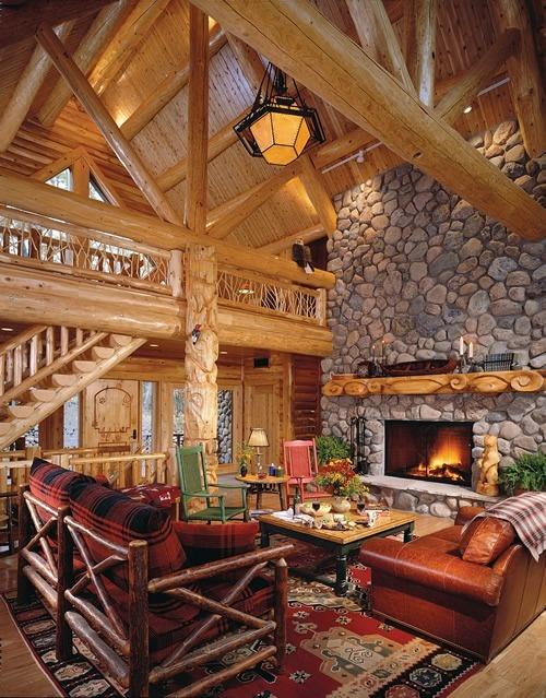 Finished Cedar Interior Breathtaking Log Home Ideas
