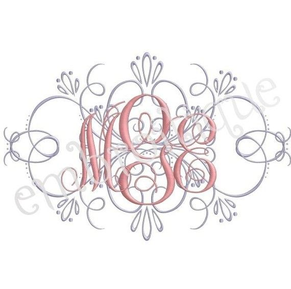 Vintage Flourish Accent - for Machine Embroidery Monogram  | Fonts