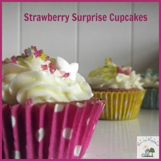 creative playhouse strawberry surprise cupcakes with # cbias