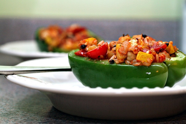 ... & garbanzo stuffed peppers: brown rice, bell peppers, zucchini