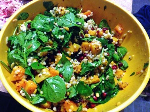 Roasted butternut squash salad with cous cous, pomegranate seeds ...