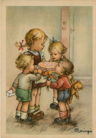 Victorian birthday postcard