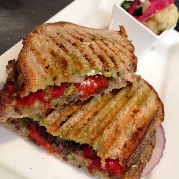 , Roasted Peppers, Red Onions, Arugula Pesto, Aioli & Goat Cheese ...