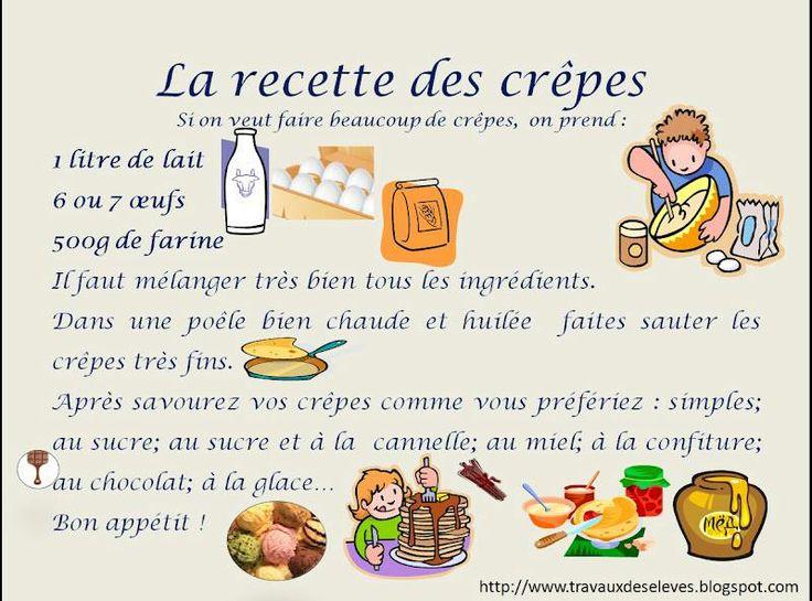 Recettes cr pes fiches cuisine enfants pinterest for Anglais facile vocabulaire cuisine