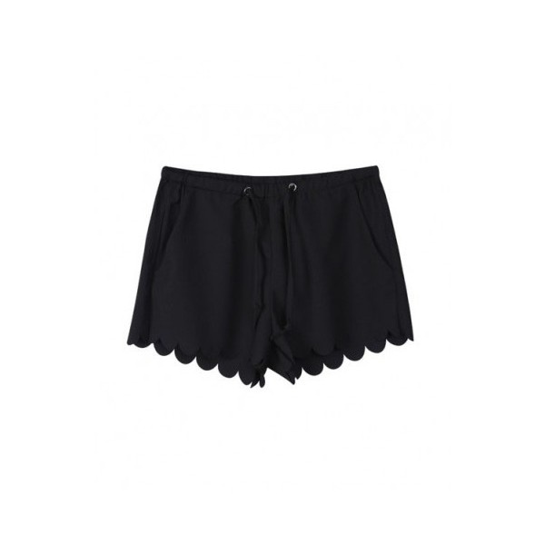 Black Chiffon Tie Shorts with Scallop Cuffs ($29) liked on ...