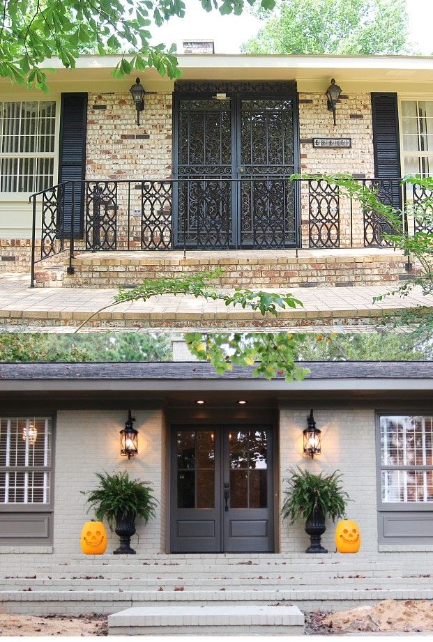 Painted Brick Exterior Before And After Exterior Paint Colors Pinterest