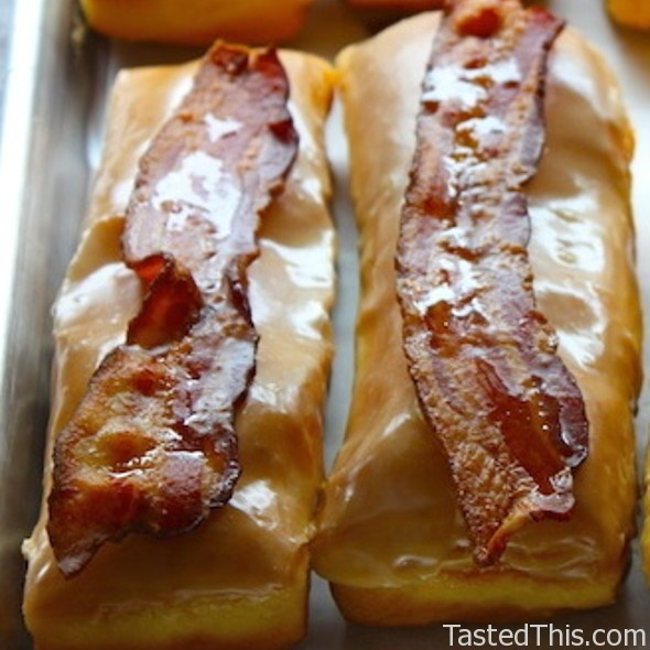 ... maple glazed bacon long john at blue dot donuts maple bacon long john