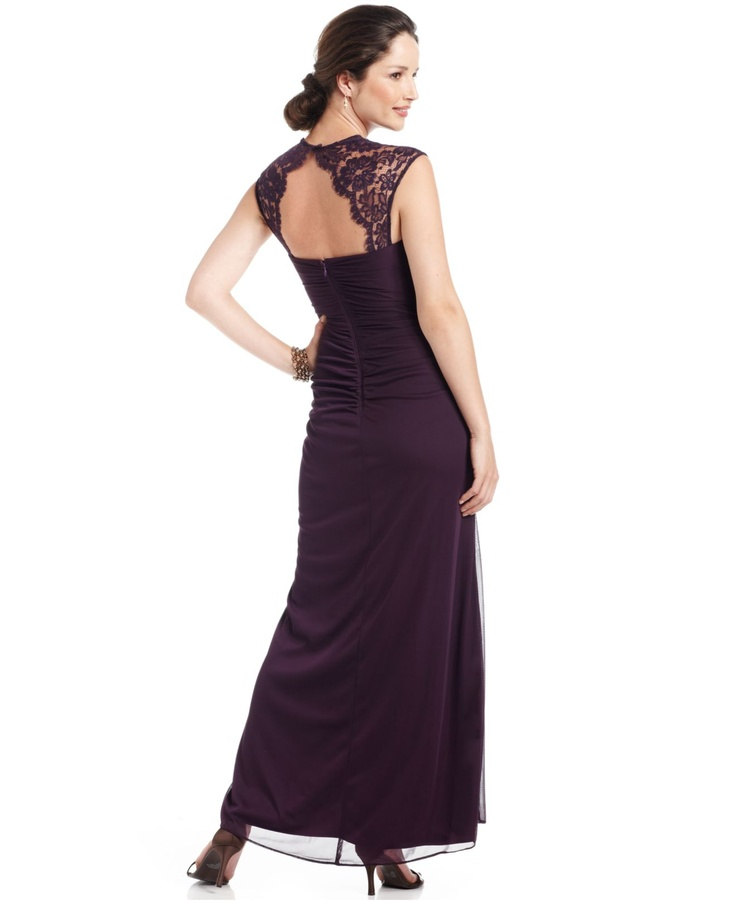 Xscape Dress, Cap Sleeve Lace Draped Shawl - Womens Dresses - Macy's