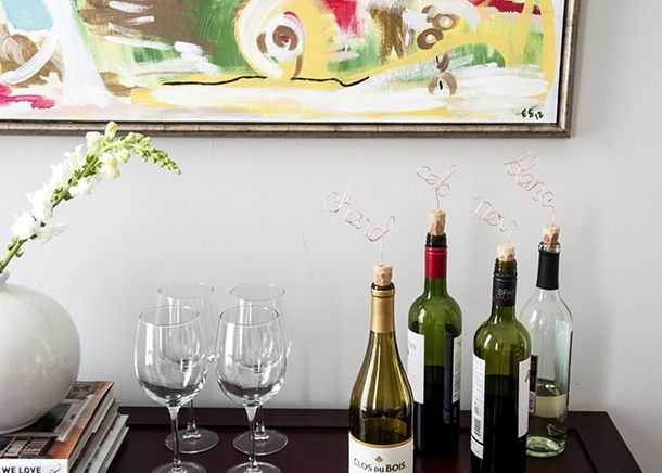 DIY Copper Script Wine Toppers