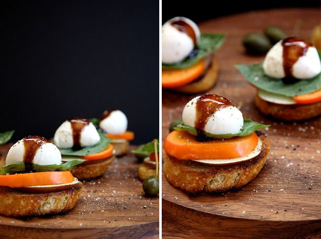 ... persimmons, pears, mozzarella and basil to make this caprese toast