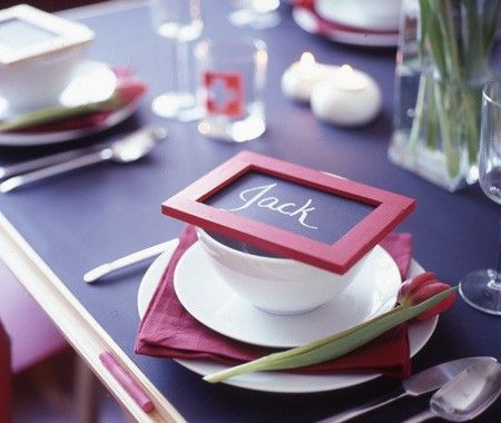 Very cute idea for party placecards. These DIY, bistro-style blackboard placecards can work for formal or informal entertaining. I'm thinking this would be a whole lot of unexpected fun at my next family Thanksgiving or Christmas gathering!