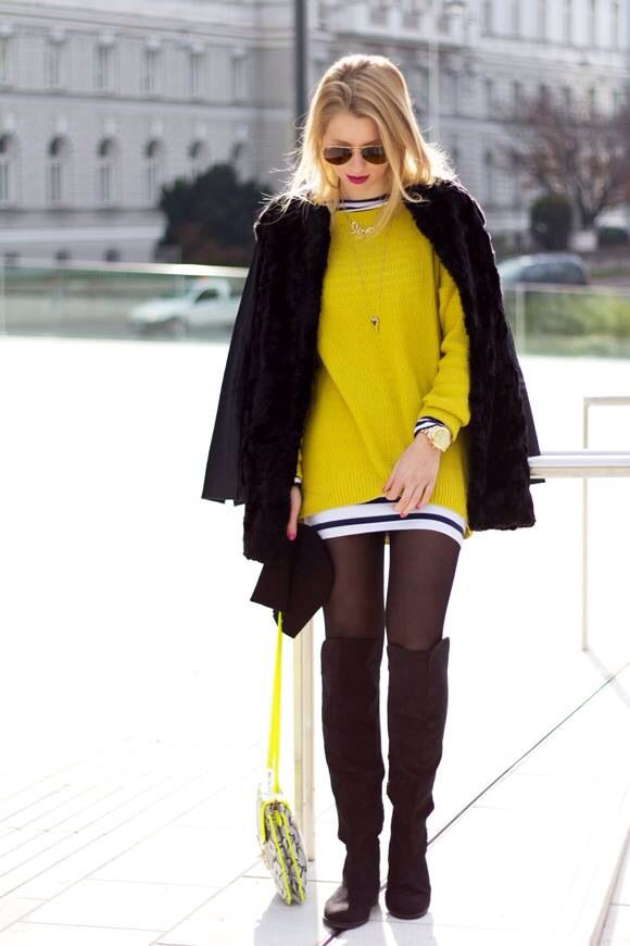 21 Fashion Trends Winter 2014. yellow oversized sweater over striped mini dress, layering, high knee boots