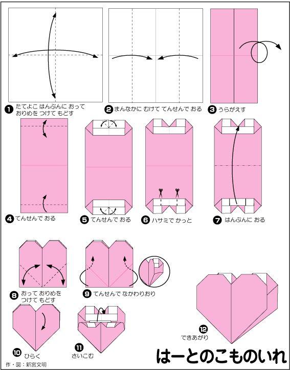 折り紙・ハートの小物入れ Heart ... : 折り紙 箱 作り方 難しい : 折り紙