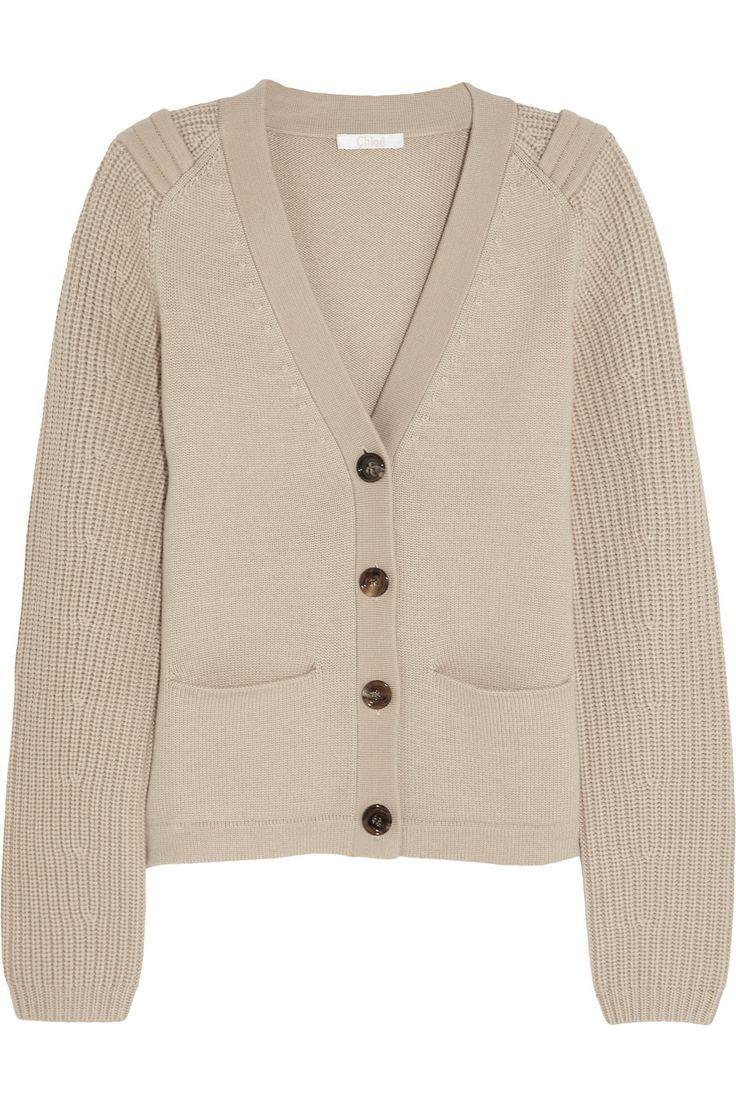 Chloé|Cardigan en laine à mailles contrastantes