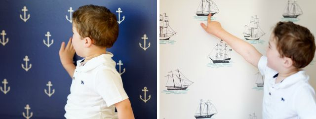 This removable wallpaper from Sarah Jane for @Pop & Lolli Fabric Eco Friendly Wall Decals would make a perfect accent wall in a #nautical #nursery or #playroom!
