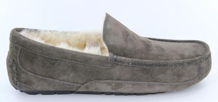 UGG Australia Men's Ascot Suede Moccasin Slippers Charcoal #5775M|CHRC #UGGAustralia #MoccasinSlippers
