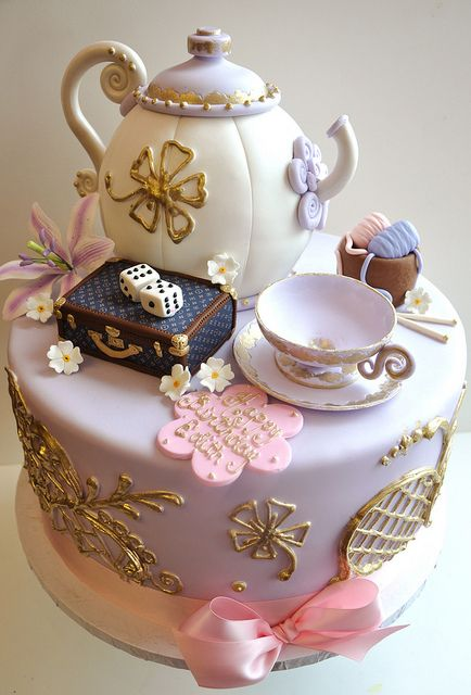 girly cake tea cup tea pot tea party