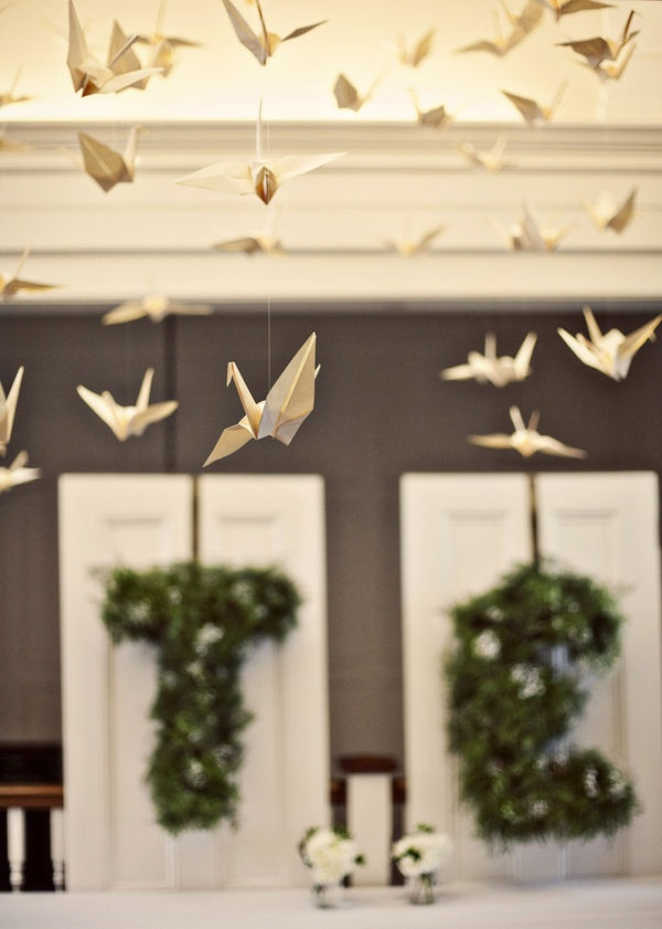 origami birds as decor