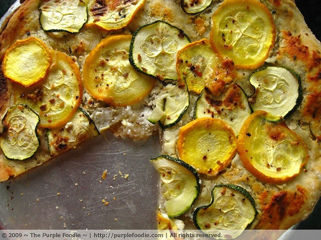Goat's cheese and zucchini pizza by The Purple Foodie, via Flickr