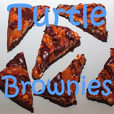 turtle brownies (caramel, pecan, chocolate)
