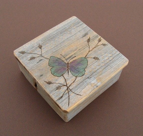 Reclaimed wood rustic keepsake box with etched butterfly - Small rustic wooden boxes ...