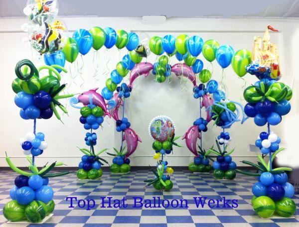 Dolphin mylar balloon pillar theme under the sea pinterest for Annaprasana decoration