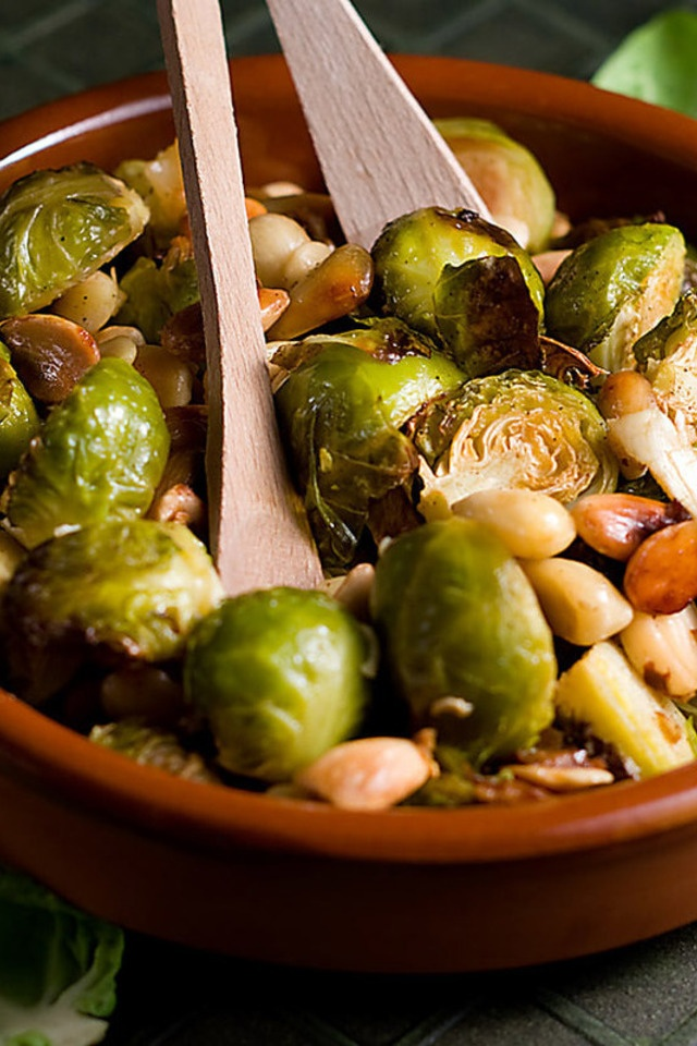 Roasted Brussels Sprouts With Almonds | Food: Lunch & Dinner. | Pinte ...