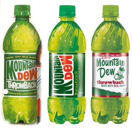Mountain Dew Throwback packaging design