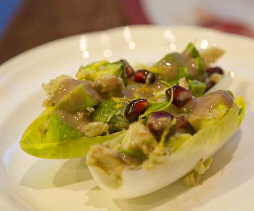 endive boats with avocado pomegranate amp crab salad gluten free ...