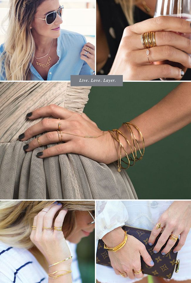 Layered gold Gorjana jewelry