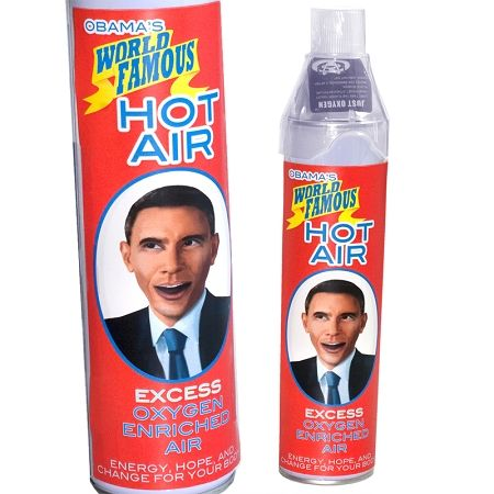 No matter what your political persuasion, you can't deny that Obama has a way with words. He certainly can talk. He has the skill and charisma to persuade others. Obama's Hot Air Spray will capture some of that hot air and put it in your room.
