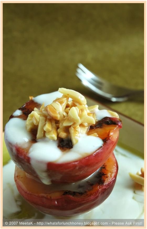 Grilled Peach with Eucalyptus Honey Yogurt and Roasted Almonds ...