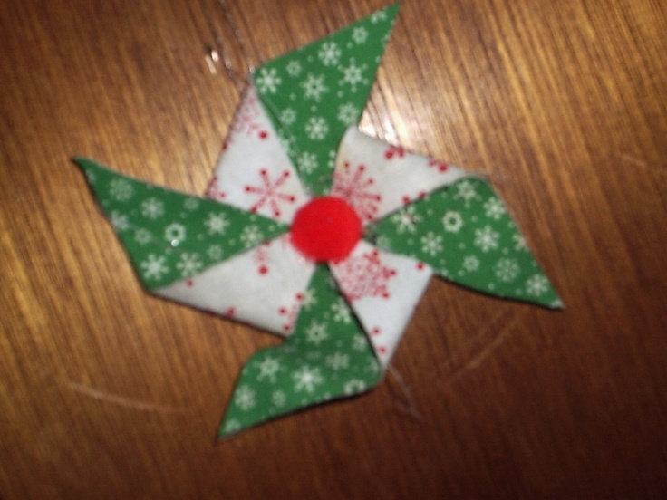 fused fabric pin wheel ornament