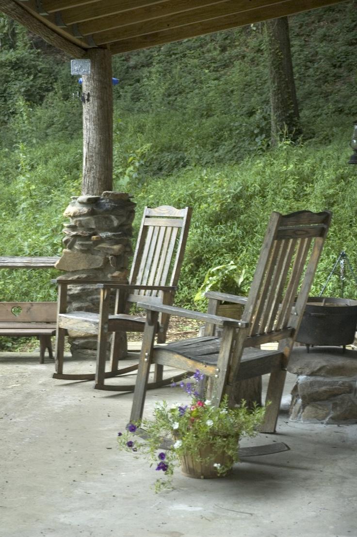 Log Cabin Porch Rock Your Worries Away Pinterest