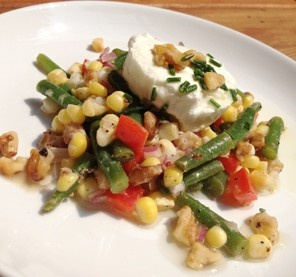 Corn, Haricots Verts and Goat Cheese Salad With Walnuts Recipe Details ...