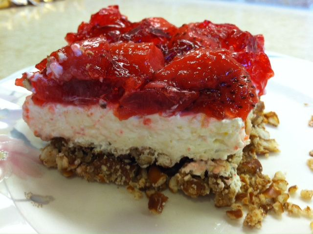 Strawberry Pretzel Salad Some versions I've seen use 1/2 cup sugar in ...