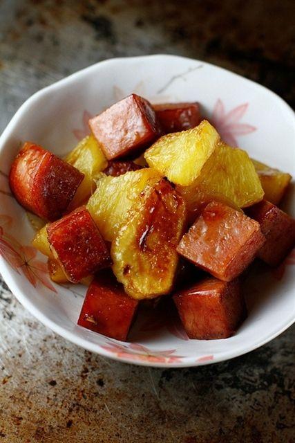 Mochachocolata-Rita: Baked Spam and Pineapple in Teriyaki Sauce