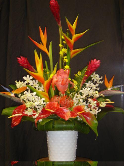 Tropical flower centerpiece wedding retro bright neon