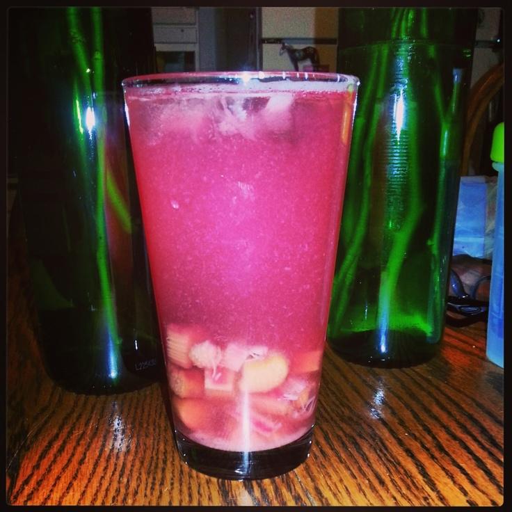 Rhubarb Lemonade ... cooked Rhubarb, Lemon Juice, and Stevia.