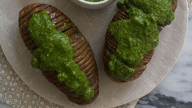 SPINACH PESTO--Hasselback Potatoes with Spinach Pesto | Fresh Tastes ...