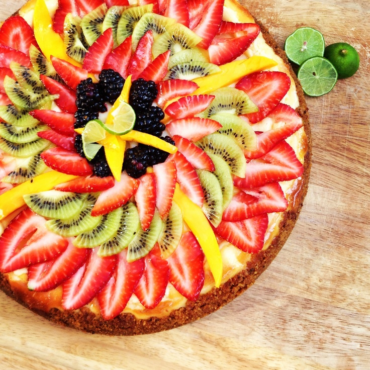 Key lime cheesecake with a macadamia nut crust