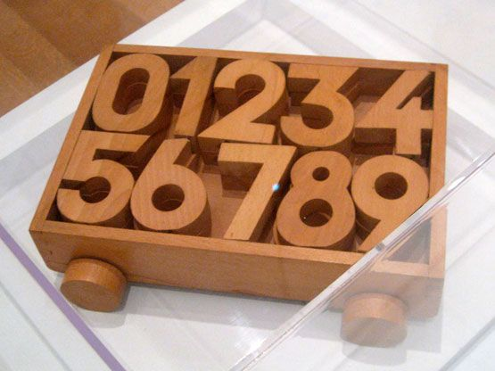 1930's. Kaj Bojesen (Danish, 1886-1958)  Numbers Toy Cart. Wood.