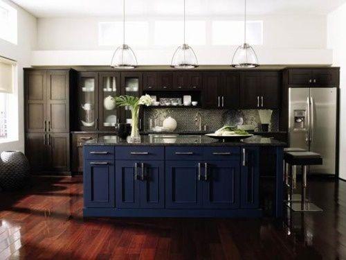 Blue kitchen island with black cabinets kitchen paint for Dark blue kitchen units